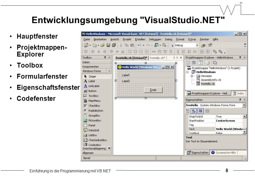 Einführung in die Programmierung mit VB.NET Entwicklungsumgebung VisualStudio.NET Hauptfenster Projektmappen- Explorer Toolbox Formularfenster Eigenschaftsfenster Codefenster 8