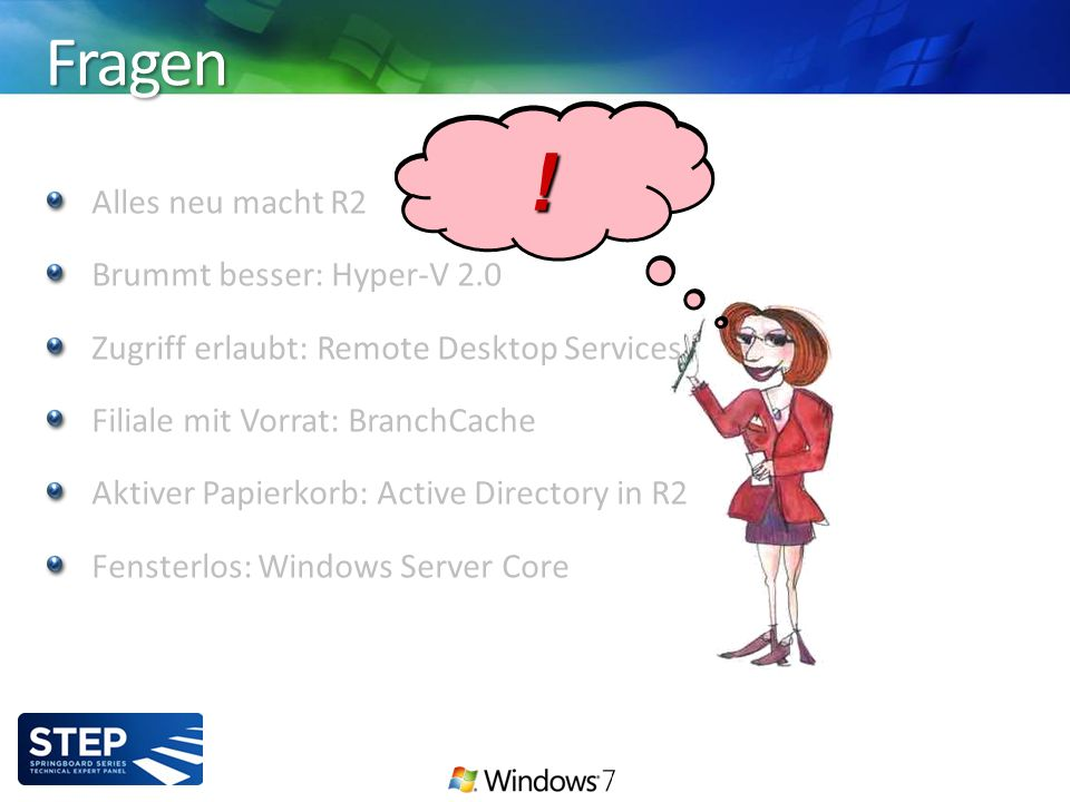Alles neu macht R2 Brummt besser: Hyper-V 2.0 Zugriff erlaubt: Remote Desktop Services Filiale mit Vorrat: BranchCache Aktiver Papierkorb: Active Directory in R2 Fensterlos: Windows Server Core Fragen .