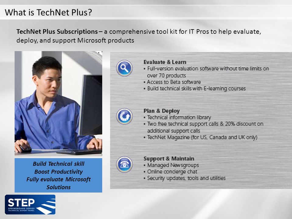TechNet Plus Subscriptions – a comprehensive tool kit for IT Pros to help evaluate, deploy, and support Microsoft products EVALUATION DEPLOYMENT SUPPORT Build Technical skill Boost Productivity Fully evaluate Microsoft Solutions Get Hands on Experience with the Latest Microsoft Technologies Plan for future Deployments Resolve Technical Issues Faster What is TechNet Plus