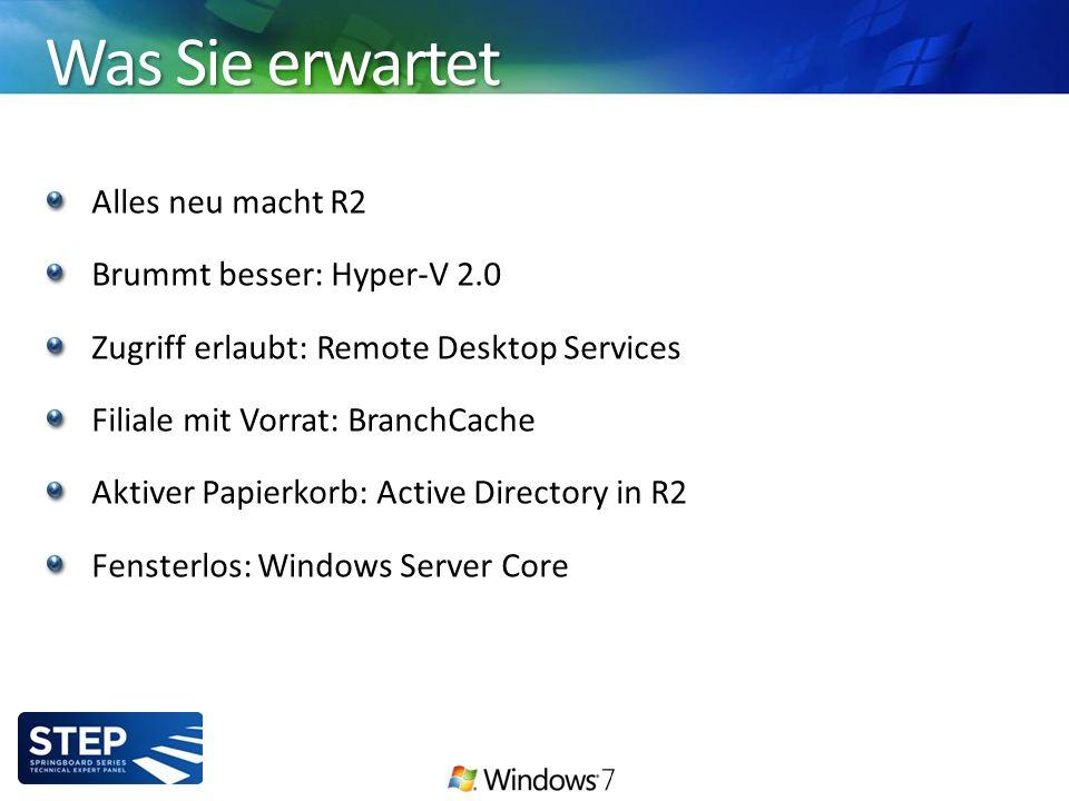 Was Sie erwartet Alles neu macht R2 Brummt besser: Hyper-V 2.0 Zugriff erlaubt: Remote Desktop Services Filiale mit Vorrat: BranchCache Aktiver Papierkorb: Active Directory in R2 Fensterlos: Windows Server Core