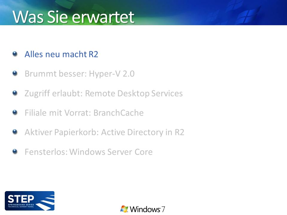 Was Sie erwartet Alles neu macht R2 Brummt besser: Hyper-V 2.0 Zugriff erlaubt: Remote Desktop Services Filiale mit Vorrat: BranchCache Aktiver Papierkorb: Active Directory in R2 Fensterlos: Windows Server Core