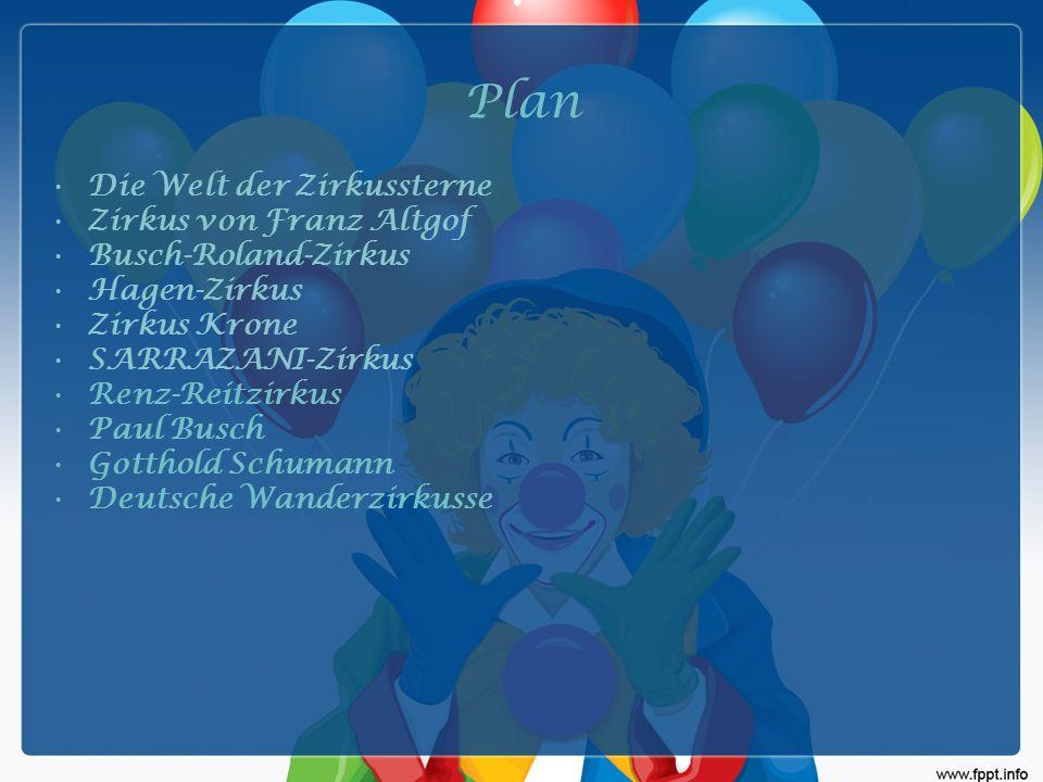 Plan Die Welt der Zirkussterne Zirkus von Franz Altgof Busch-Roland-Zirkus Hagen-Zirkus Zirkus Krone SARRAZANI-Zirkus Renz-Reitzirkus Paul Busch Gotthold Schumann Deutsche Wanderzirkusse