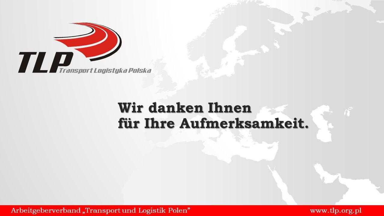 """Arbeitgeberverband """"Transport und Logistik Polen www.tlp.org.pl Wir danken Ihnen für Ihre Aufmerksamkeit."""