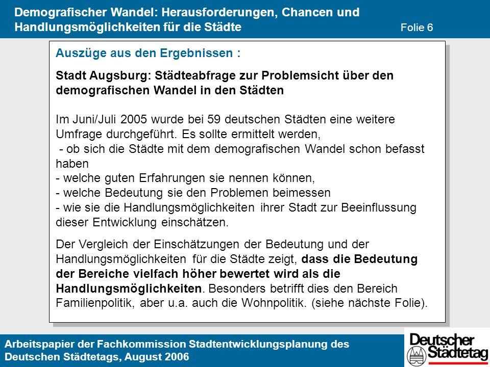 Arbeitspapier der Fachkommission Stadtentwicklungsplanung des Deutschen Städtetags, August 2006 Demografischer Wandel: Herausforderungen, Chancen und Handlungsmöglichkeiten für die Städte Folie 6 Auszüge aus den Ergebnissen : Stadt Augsburg: Städteabfrage zur Problemsicht über den demografischen Wandel in den Städten Im Juni/Juli 2005 wurde bei 59 deutschen Städten eine weitere Umfrage durchgeführt.