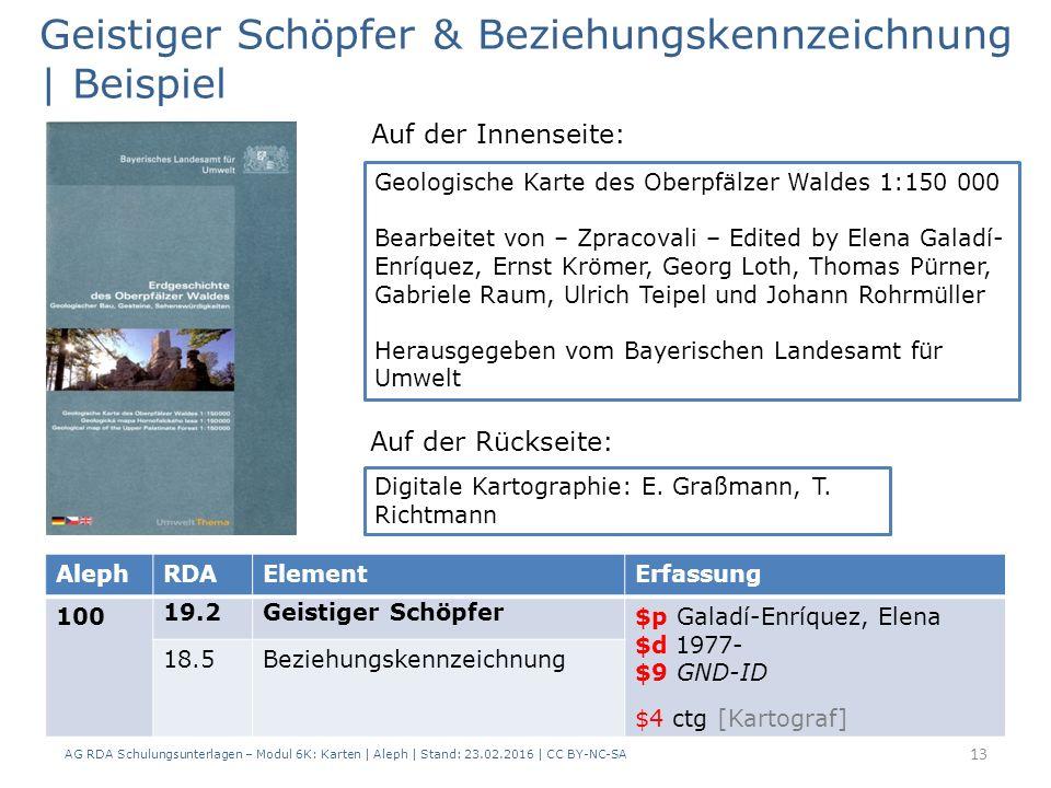 AG RDA Schulungsunterlagen – Modul 6K: Karten | Aleph | Stand: 23.02.2016 | CC BY-NC-SA 13 Geistiger Schöpfer & Beziehungskennzeichnung | Beispiel Geo