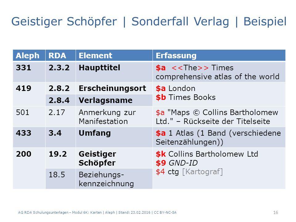 AG RDA Schulungsunterlagen – Modul 6K: Karten | Aleph | Stand: 23.02.2016 | CC BY-NC-SA 16 Geistiger Schöpfer | Sonderfall Verlag | Beispiel AlephRDAE