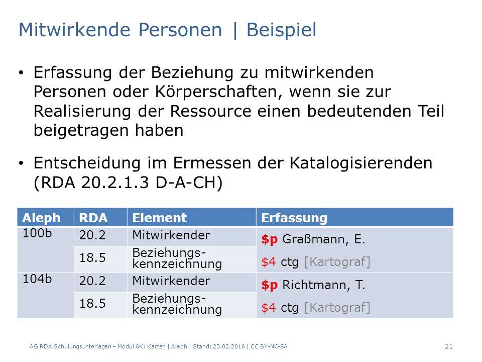 AG RDA Schulungsunterlagen – Modul 6K: Karten | Aleph | Stand: 23.02.2016 | CC BY-NC-SA 21 Mitwirkende Personen | Beispiel Erfassung der Beziehung zu mitwirkenden Personen oder Körperschaften, wenn sie zur Realisierung der Ressource einen bedeutenden Teil beigetragen haben Entscheidung im Ermessen der Katalogisierenden (RDA 20.2.1.3 D-A-CH) AlephRDAElementErfassung 100b 20.2Mitwirkender $p Graßmann, E.