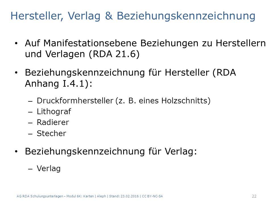 AG RDA Schulungsunterlagen – Modul 6K: Karten | Aleph | Stand: 23.02.2016 | CC BY-NC-SA 22 Hersteller, Verlag & Beziehungskennzeichnung Auf Manifestationsebene Beziehungen zu Herstellern und Verlagen (RDA 21.6) Beziehungskennzeichnung für Hersteller (RDA Anhang I.4.1): – Druckformhersteller (z.