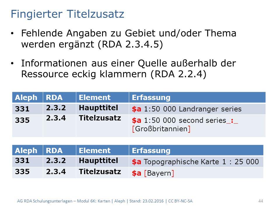 Fingierter Titelzusatz Fehlende Angaben zu Gebiet und/oder Thema werden ergänzt (RDA 2.3.4.5) Informationen aus einer Quelle außerhalb der Ressource e