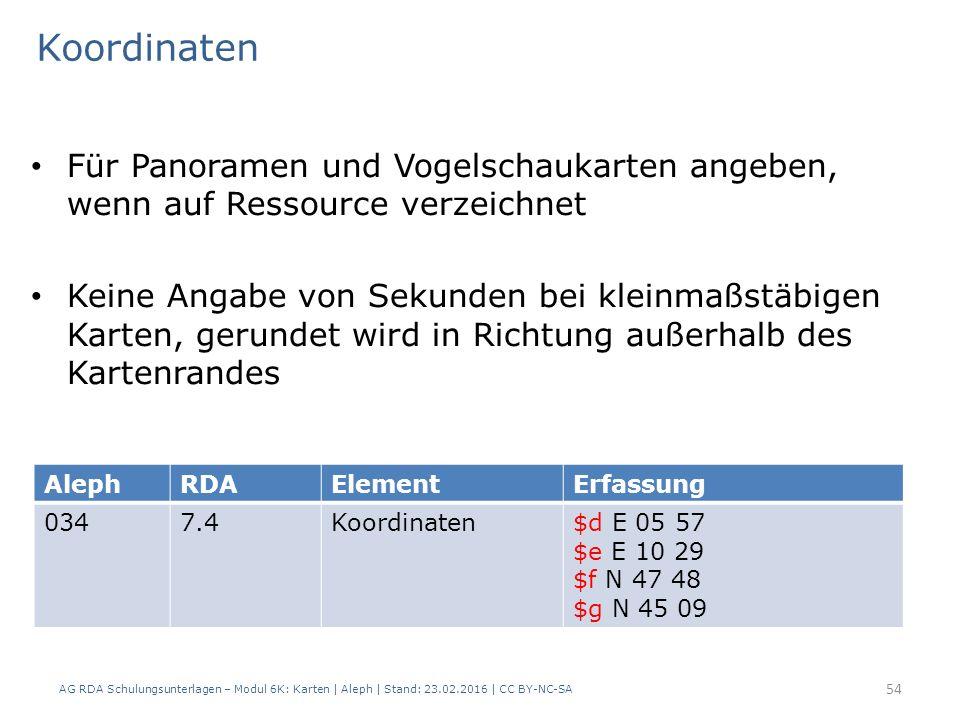 AG RDA Schulungsunterlagen – Modul 6K: Karten | Aleph | Stand: 23.02.2016 | CC BY-NC-SA 54 Für Panoramen und Vogelschaukarten angeben, wenn auf Ressou