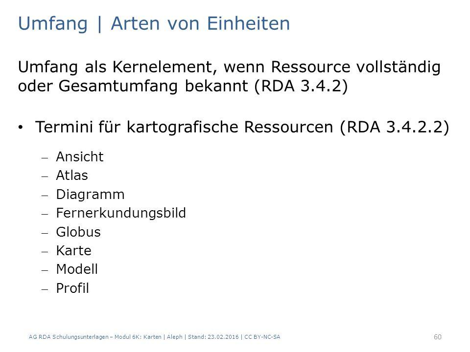 AG RDA Schulungsunterlagen – Modul 6K: Karten | Aleph | Stand: 23.02.2016 | CC BY-NC-SA 60 Umfang | Arten von Einheiten Umfang als Kernelement, wenn R