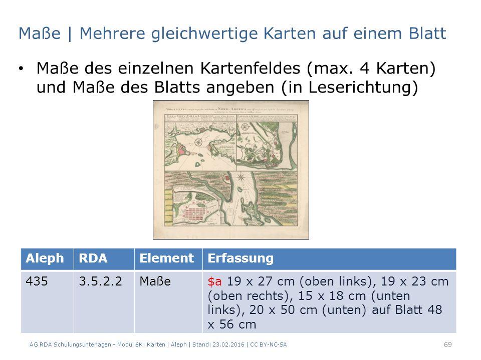 AG RDA Schulungsunterlagen – Modul 6K: Karten | Aleph | Stand: 23.02.2016 | CC BY-NC-SA 69 Maße | Mehrere gleichwertige Karten auf einem Blatt Maße de