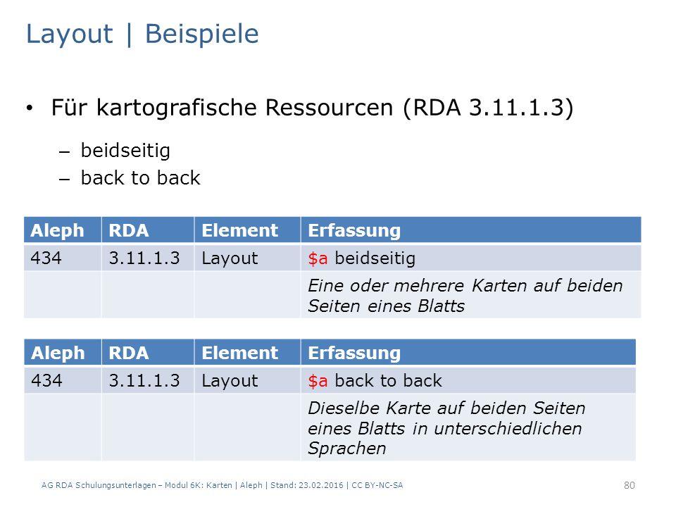 AG RDA Schulungsunterlagen – Modul 6K: Karten | Aleph | Stand: 23.02.2016 | CC BY-NC-SA 80 Layout | Beispiele Für kartografische Ressourcen (RDA 3.11.1.3) – beidseitig – back to back AlephRDAElementErfassung 4343.11.1.3Layout$a beidseitig Eine oder mehrere Karten auf beiden Seiten eines Blatts AlephRDAElementErfassung 4343.11.1.3Layout$a back to back Dieselbe Karte auf beiden Seiten eines Blatts in unterschiedlichen Sprachen