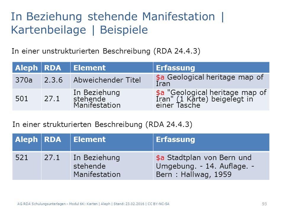 AG RDA Schulungsunterlagen – Modul 6K: Karten | Aleph | Stand: 23.02.2016 | CC BY-NC-SA 93 In Beziehung stehende Manifestation | Kartenbeilage | Beispiele AlephRDAElementErfassung 52127.1In Beziehung stehende Manifestation $a Stadtplan von Bern und Umgebung.