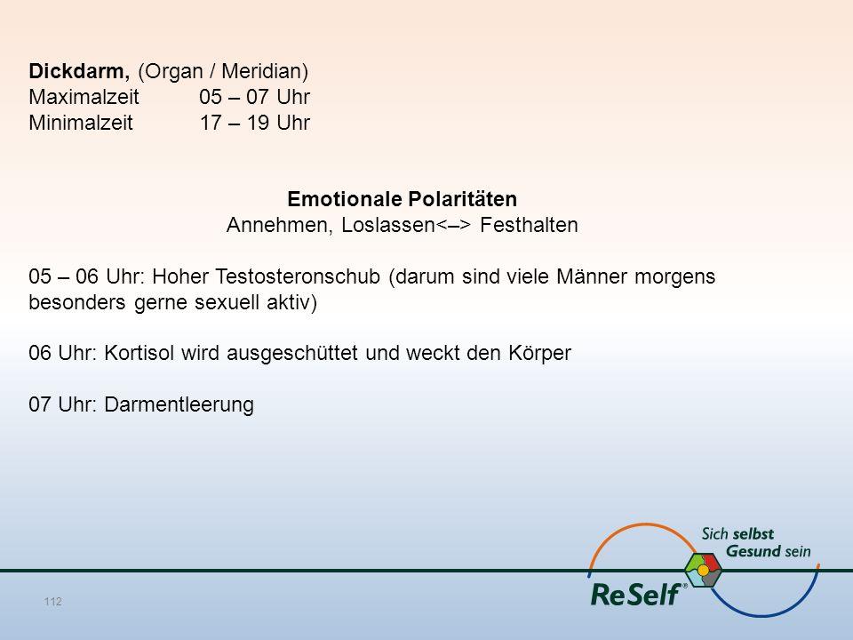 Dickdarm, (Organ / Meridian) Maximalzeit 05 – 07 Uhr Minimalzeit 17 – 19 Uhr Emotionale Polaritäten Annehmen, Loslassen Festhalten 05 – 06 Uhr: Hoher
