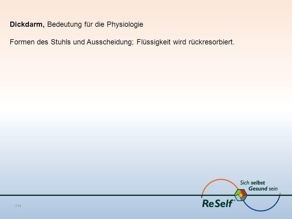 Dickdarm, Bedeutung für die Physiologie Formen des Stuhls und Ausscheidung; Flüssigkeit wird rückresorbiert. 114