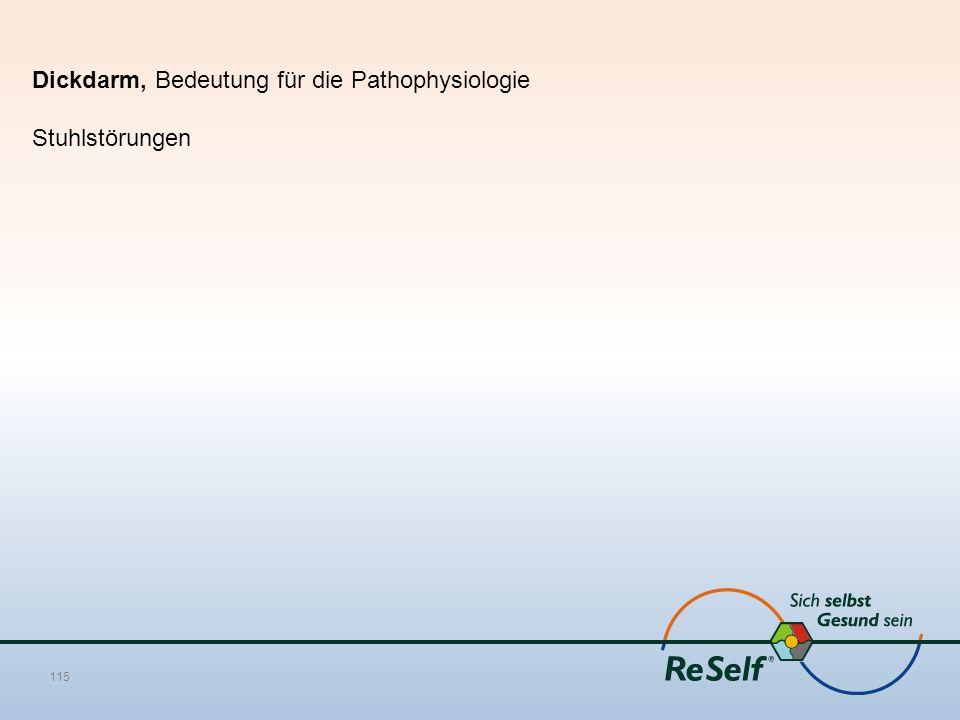 Dickdarm, Bedeutung für die Pathophysiologie Stuhlstörungen 115