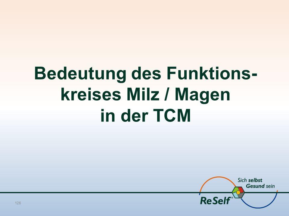 Bedeutung des Funktions- kreises Milz / Magen in der TCM 126