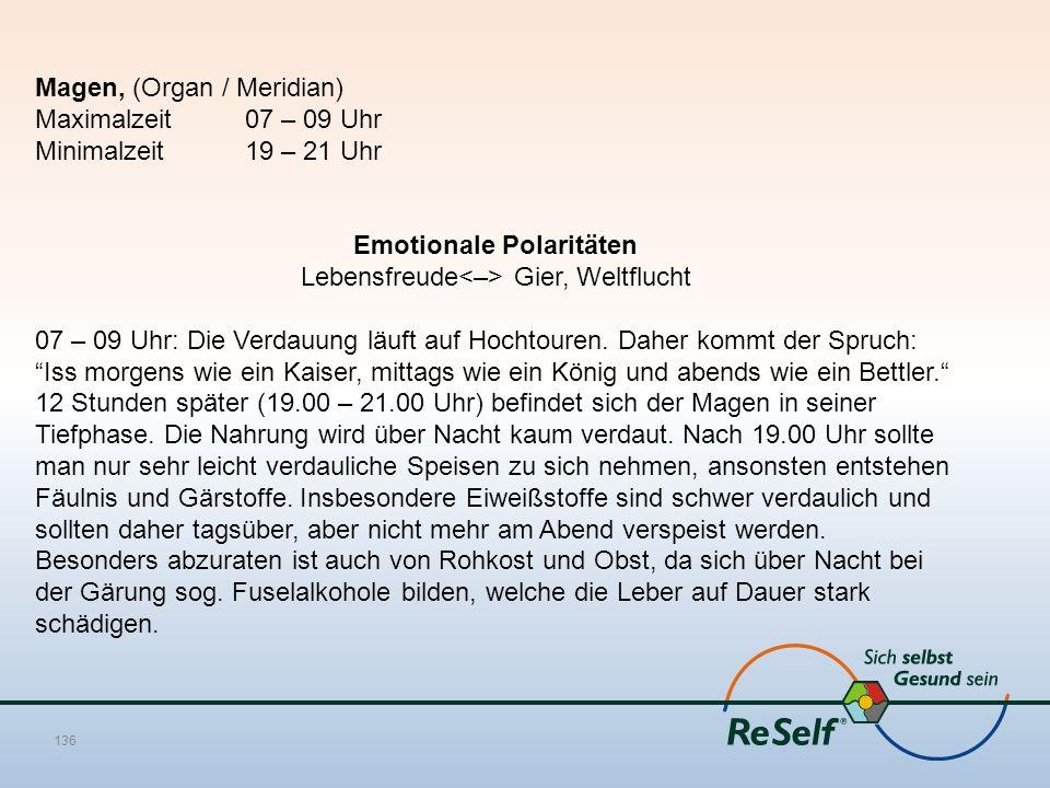 Magen, (Organ / Meridian) Maximalzeit 07 – 09 Uhr Minimalzeit 19 – 21 Uhr Emotionale Polaritäten Lebensfreude Gier, Weltflucht 07 – 09 Uhr: Die Verdau