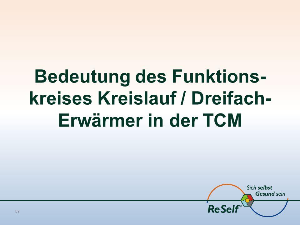 Bedeutung des Funktions- kreises Kreislauf / Dreifach- Erwärmer in der TCM 58
