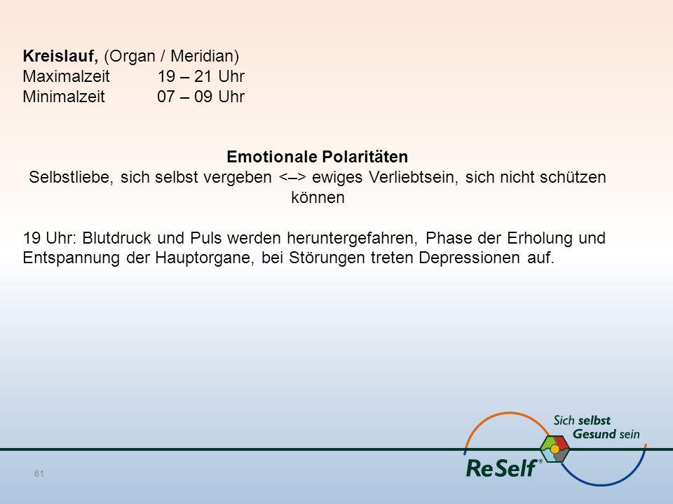 Kreislauf, (Organ / Meridian) Maximalzeit 19 – 21 Uhr Minimalzeit 07 – 09 Uhr Emotionale Polaritäten Selbstliebe, sich selbst vergeben ewiges Verliebtsein, sich nicht schützen können 19 Uhr: Blutdruck und Puls werden heruntergefahren, Phase der Erholung und Entspannung der Hauptorgane, bei Störungen treten Depressionen auf.