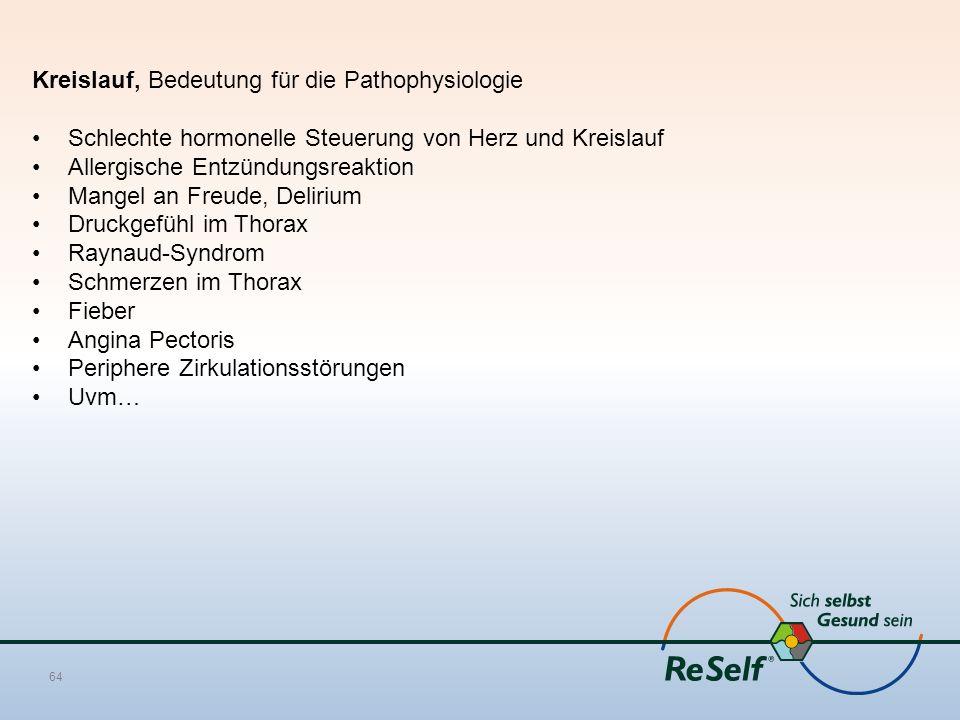 Kreislauf, Bedeutung für die Pathophysiologie Schlechte hormonelle Steuerung von Herz und Kreislauf Allergische Entzündungsreaktion Mangel an Freude, Delirium Druckgefühl im Thorax Raynaud-Syndrom Schmerzen im Thorax Fieber Angina Pectoris Periphere Zirkulationsstörungen Uvm… 64
