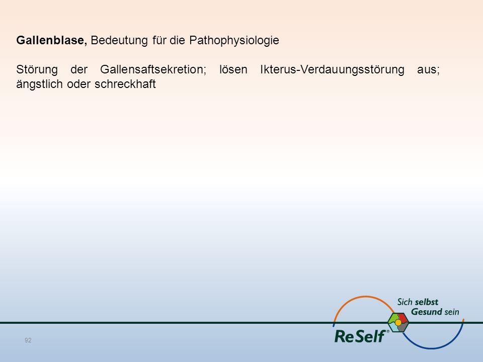 Gallenblase, Bedeutung für die Pathophysiologie Störung der Gallensaftsekretion; lösen Ikterus-Verdauungsstörung aus; ängstlich oder schreckhaft 92