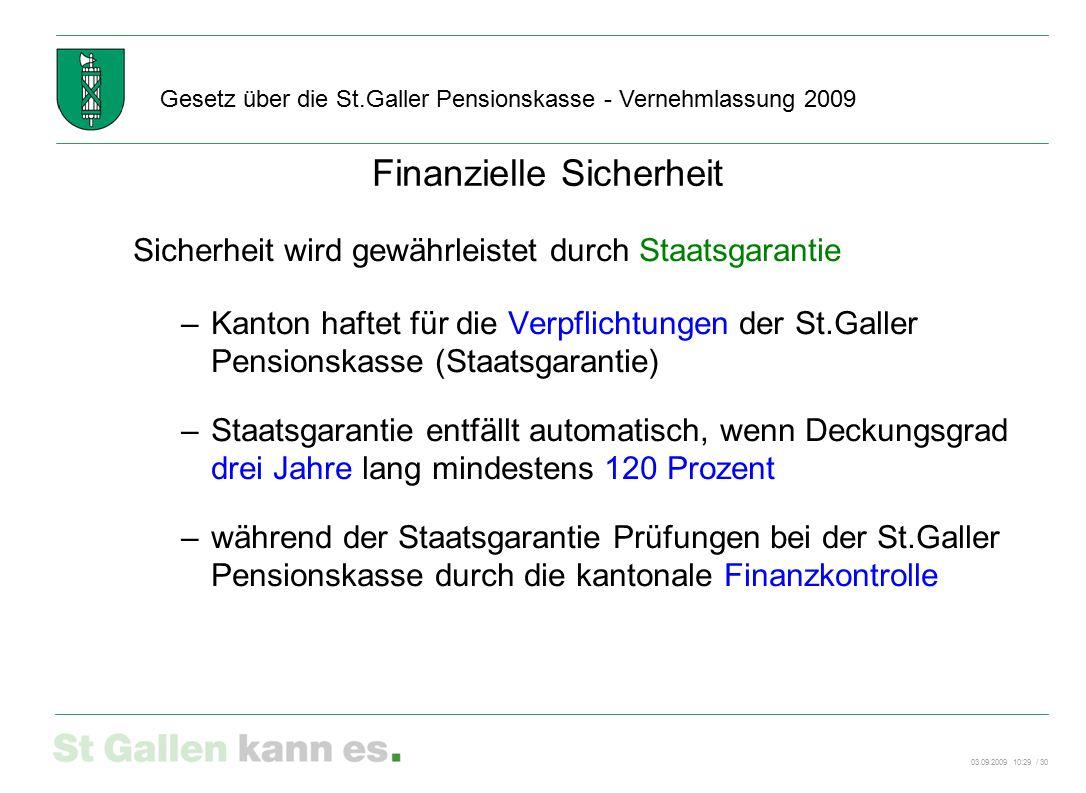 03.09.2009 10:29 / 30 Gesetz über die St.Galler Pensionskasse - Vernehmlassung 2009 Finanzielle Sicherheit Sicherheit wird gewährleistet durch Staatsg
