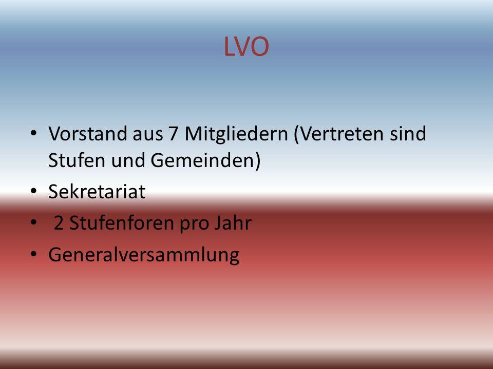 LVO Vorstand aus 7 Mitgliedern (Vertreten sind Stufen und Gemeinden) Sekretariat 2 Stufenforen pro Jahr Generalversammlung