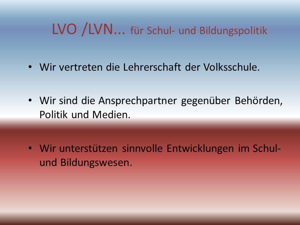 LVO /LVN... für Schul- und Bildungspolitik Wir vertreten die Lehrerschaft der Volksschule. Wir sind die Ansprechpartner gegenüber Behörden, Politik un