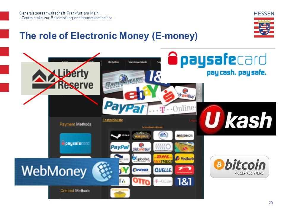 20 Generalstaatsanwaltschaft Frankfurt am Main - Zentralstelle zur Bekämpfung der Internetkriminalität - The role of Electronic Money (E-money)