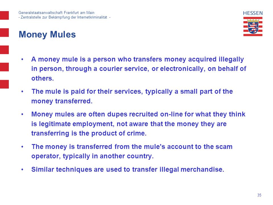 35 Generalstaatsanwaltschaft Frankfurt am Main - Zentralstelle zur Bekämpfung der Internetkriminalität - Money Mules A money mule is a person who transfers money acquired illegally in person, through a courier service, or electronically, on behalf of others.