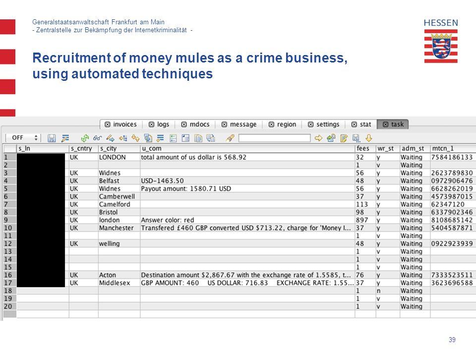 39 Generalstaatsanwaltschaft Frankfurt am Main - Zentralstelle zur Bekämpfung der Internetkriminalität - Recruitment of money mules as a crime business, using automated techniques