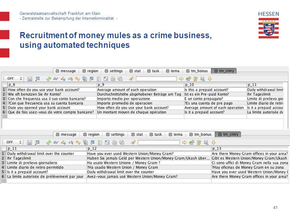 41 Generalstaatsanwaltschaft Frankfurt am Main - Zentralstelle zur Bekämpfung der Internetkriminalität - Recruitment of money mules as a crime business, using automated techniques