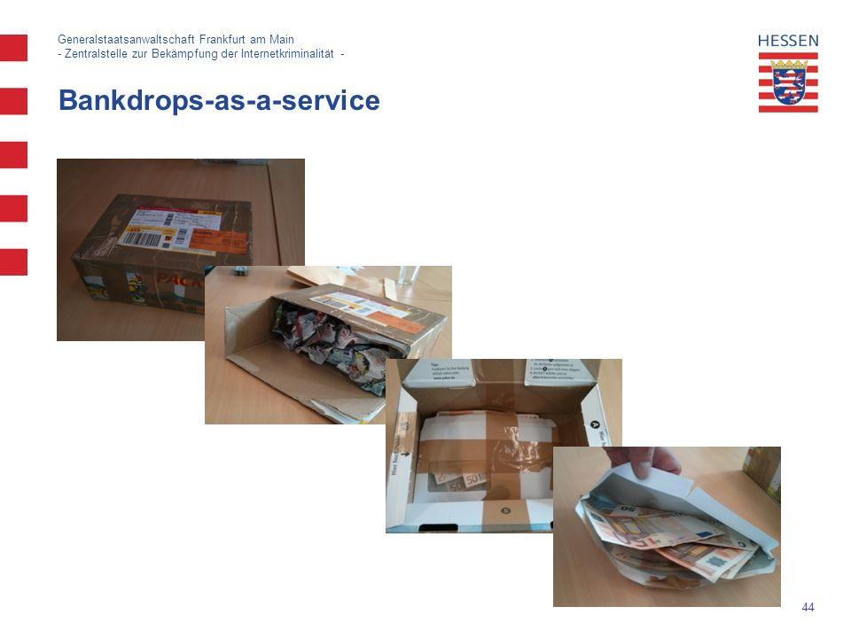 44 Bankdrops-as-a-service Generalstaatsanwaltschaft Frankfurt am Main - Zentralstelle zur Bekämpfung der Internetkriminalität -