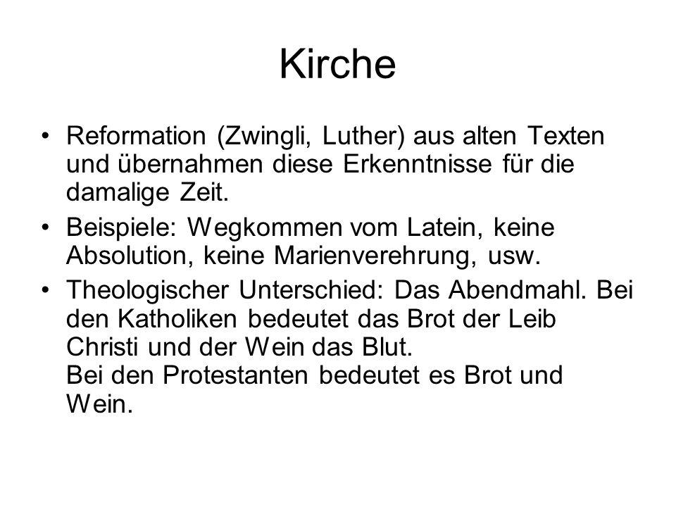 Kirche Reformation (Zwingli, Luther) aus alten Texten und übernahmen diese Erkenntnisse für die damalige Zeit.