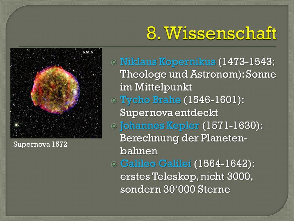  Niklaus Kopernikus (1473-1543; Theologe und Astronom): Sonne im Mittelpunkt  Tycho Brahe (1546-1601): Supernova entdeckt  Johannes Kepler (1571-1630): Berechnung der Planeten- bahnen  Galileo Galilei (1564-1642): erstes Teleskop, nicht 3000, sondern 30'000 Sterne NASA Supernova 1572