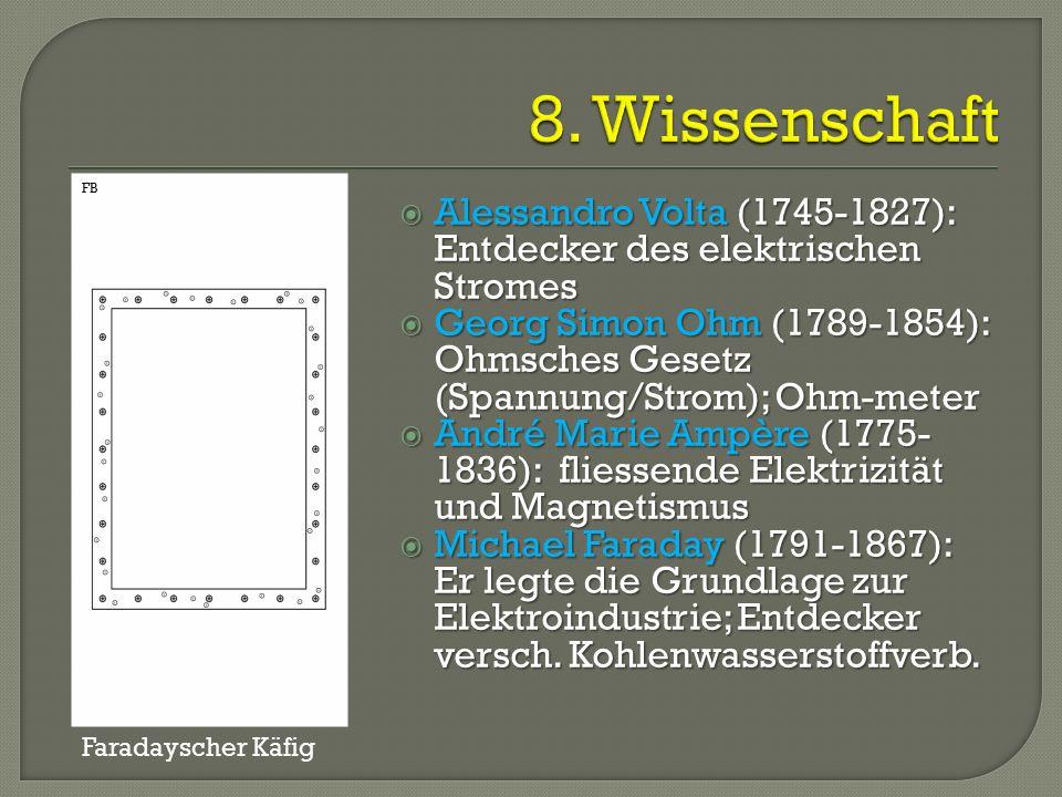  Alessandro Volta (1745-1827): Entdecker des elektrischen Stromes  Georg Simon Ohm (1789-1854): Ohmsches Gesetz (Spannung/Strom); Ohm-meter  André Marie Ampère (1775- 1836): fliessende Elektrizität und Magnetismus  Michael Faraday (1791-1867): Er legte die Grundlage zur Elektroindustrie; Entdecker versch.