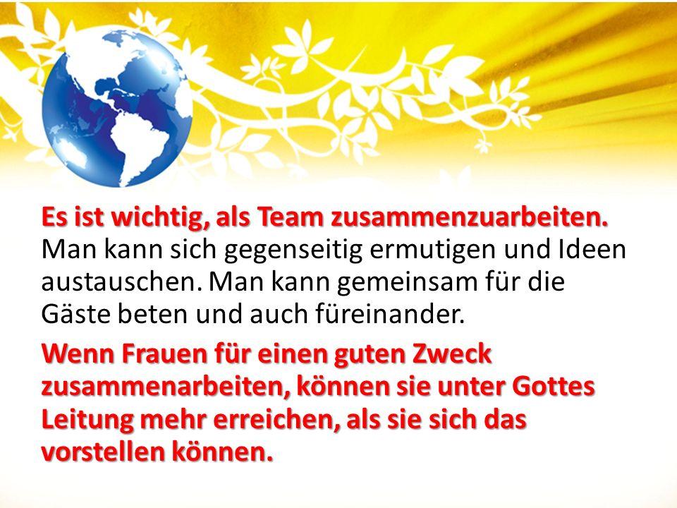Es ist wichtig, als Team zusammenzuarbeiten. Es ist wichtig, als Team zusammenzuarbeiten. Man kann sich gegenseitig ermutigen und Ideen austauschen. M