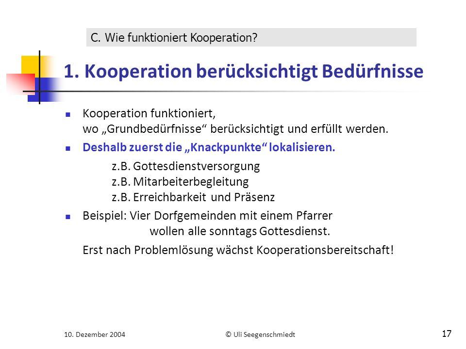 "10. Dezember 2004© Uli Seegenschmiedt 17 1. Kooperation berücksichtigt Bedürfnisse Kooperation funktioniert, wo ""Grundbedürfnisse"" berücksichtigt und"