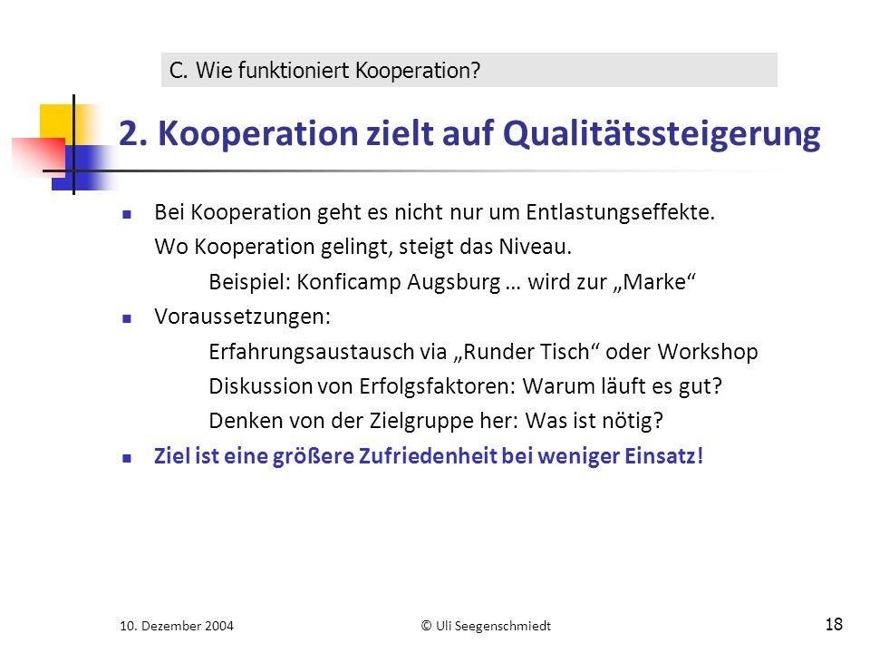 10. Dezember 2004© Uli Seegenschmiedt 18 2. Kooperation zielt auf Qualitätssteigerung Bei Kooperation geht es nicht nur um Entlastungseffekte. Wo Koop