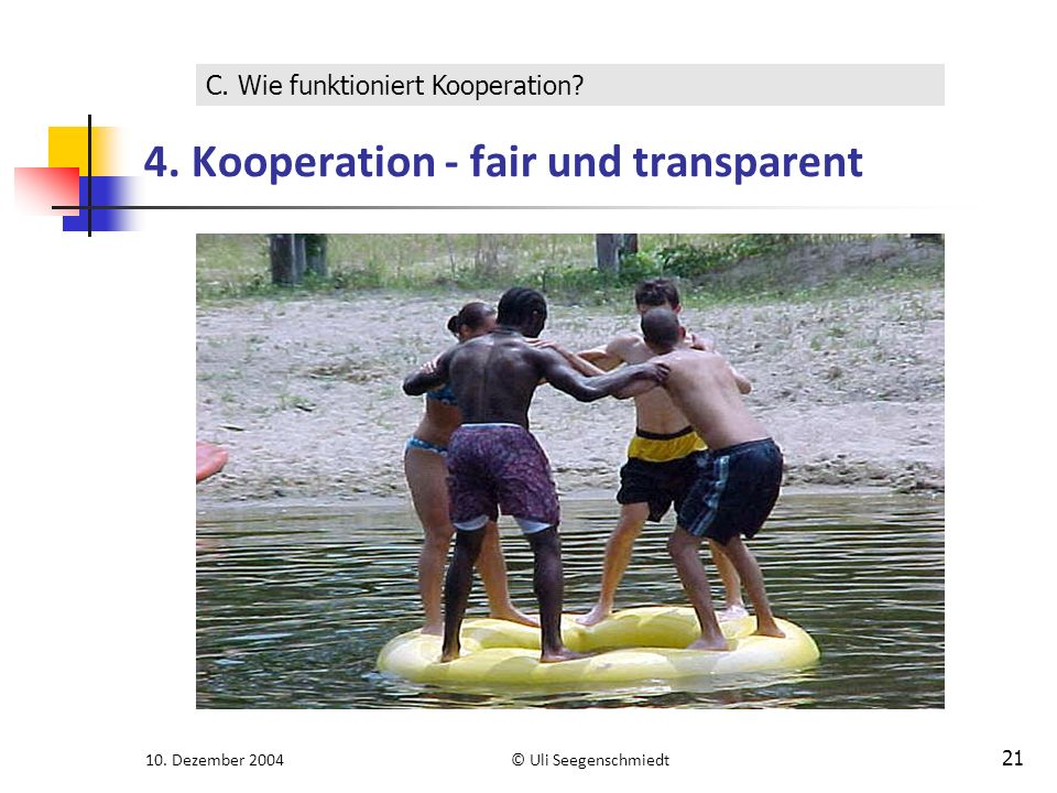 10. Dezember 2004© Uli Seegenschmiedt 21 4. Kooperation - fair und transparent C.