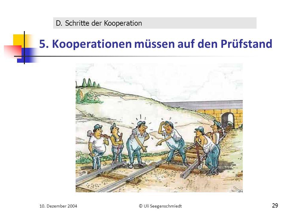 10. Dezember 2004© Uli Seegenschmiedt 29 5. Kooperationen müssen auf den Prüfstand D. Schritte der Kooperation
