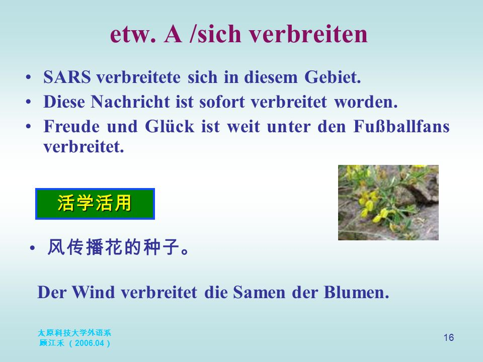 太原科技大学外语系 顾江禾 ( 2006.04 ) 16 etw. A /sich verbreiten 活学活用 SARS verbreitete sich in diesem Gebiet. Diese Nachricht ist sofort verbreitet worden. Freude