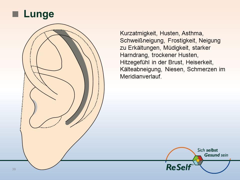 Lunge Kurzatmigkeit, Husten, Asthma, Schweißneigung, Frostigkeit, Neigung zu Erkältungen, Müdigkeit, starker Harndrang, trockener Husten, Hitzegefühl