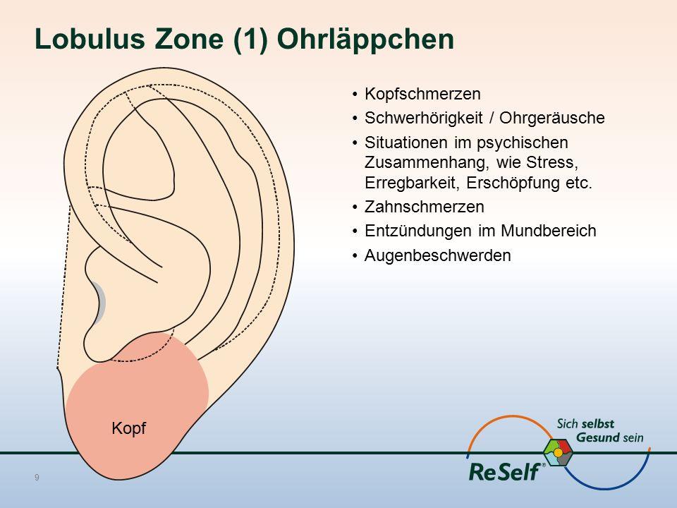 Lobulus Zone (1) Ohrläppchen Kopfschmerzen Schwerhörigkeit / Ohrgeräusche Situationen im psychischen Zusammenhang, wie Stress, Erregbarkeit, Erschöpfu