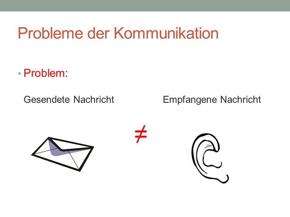 Probleme der Kommunikation (II) Dein Gefühl stimmt nicht.