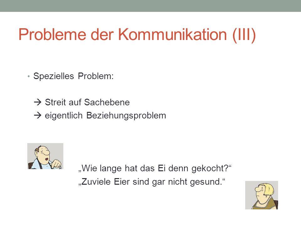 Probleme der Kommunikation (IIII) Auf Senderseite: – Ungewollte Botschaft – Versteckte Botschaft