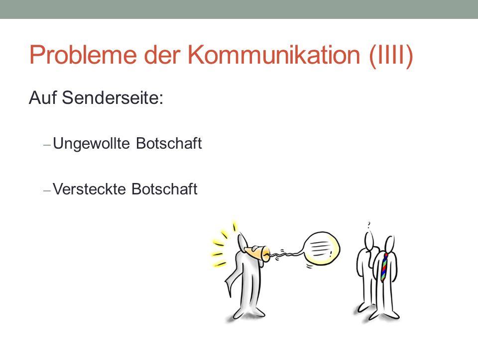 """Probleme der Kommunikation (VI) Auf Empfängerseite: Freie Auswahl des Empfängers Problem: Einseitiger Empfang  falsche Gewichtung  """"Ausgeprägtes Ohr"""