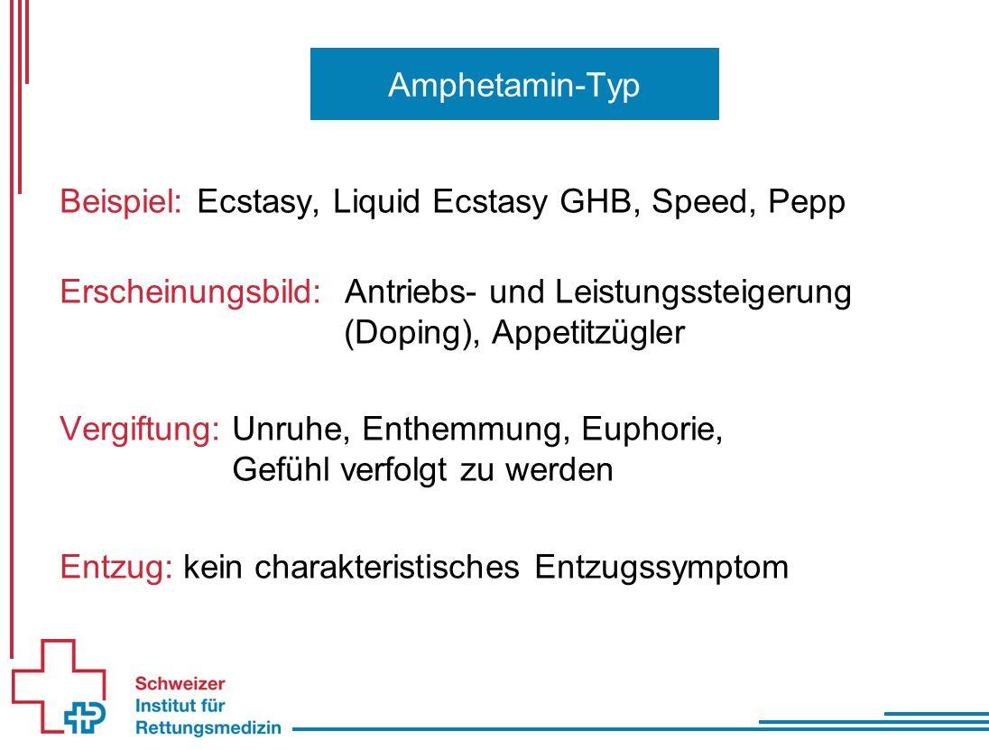 Beispiel: Ecstasy, Liquid Ecstasy GHB, Speed, Pepp Erscheinungsbild: Antriebs- und Leistungssteigerung (Doping), Appetitzügler Vergiftung: Unruhe, Enthemmung, Euphorie, Gefühl verfolgt zu werden Entzug: kein charakteristisches Entzugssymptom Amphetamin-Typ